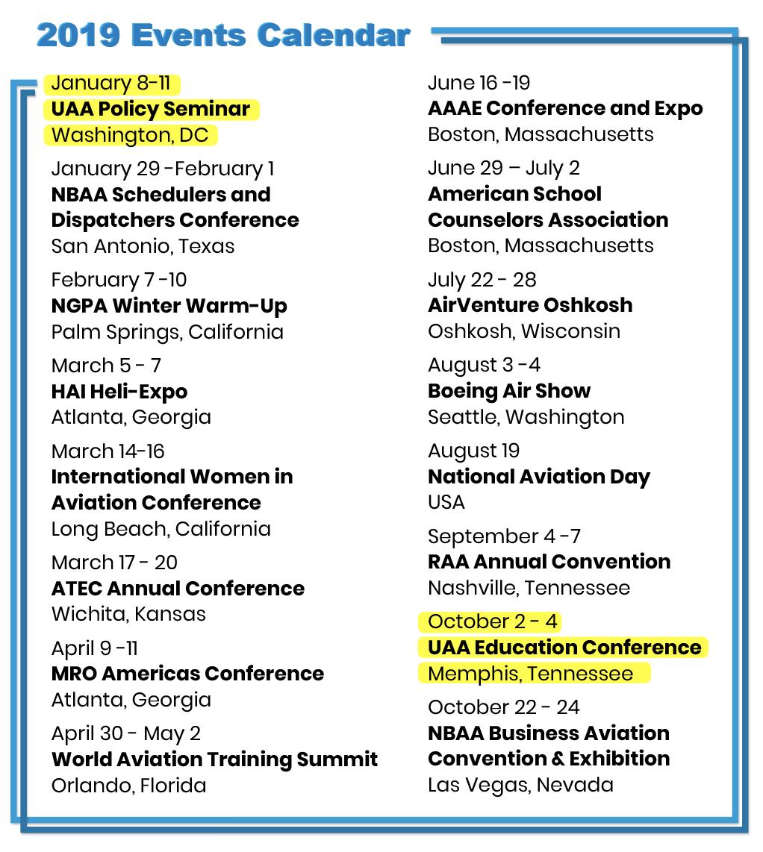 Las Vegas Event Calendar January 2019 University Aviation Association